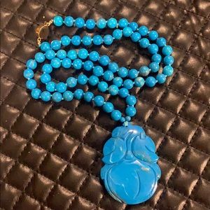 Vintage Turquoise Crystal Stone Bead Necklace